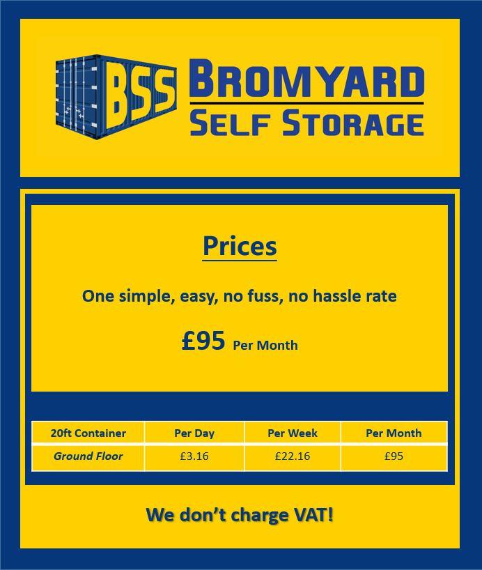 Bromyard Self Storage Price List